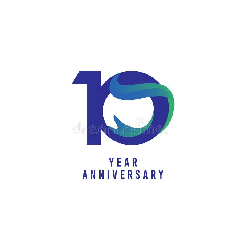 10 Years Anniversary Vector Template Design Illustration. Advertisement, corporate, greeting, ten, isolated, jubilee, text, marriage, ceremony, gold, luxury stock illustration