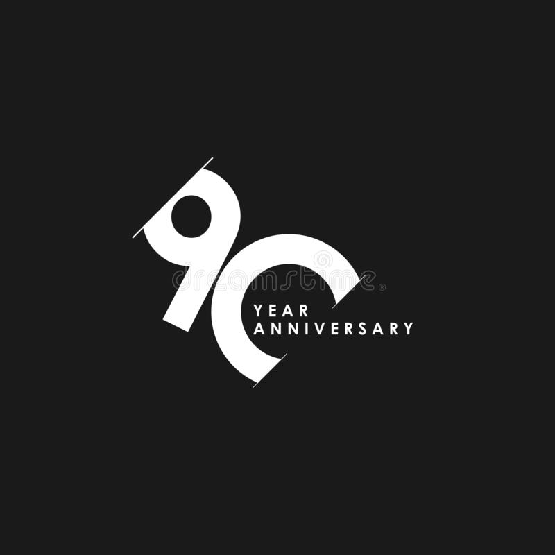 90 Years Anniversary Vector Template Design Illustration. Advertisement, corporate, greeting, ten, isolated, jubilee, text, marriage, ceremony, gold, luxury stock illustration