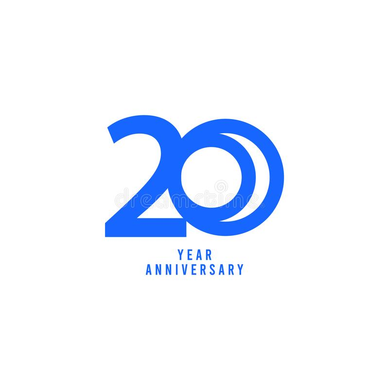 20 Years Anniversary Vector Template Design Illustration. Advertisement, corporate, greeting, ten, isolated, jubilee, text, marriage, ceremony, gold, luxury stock illustration