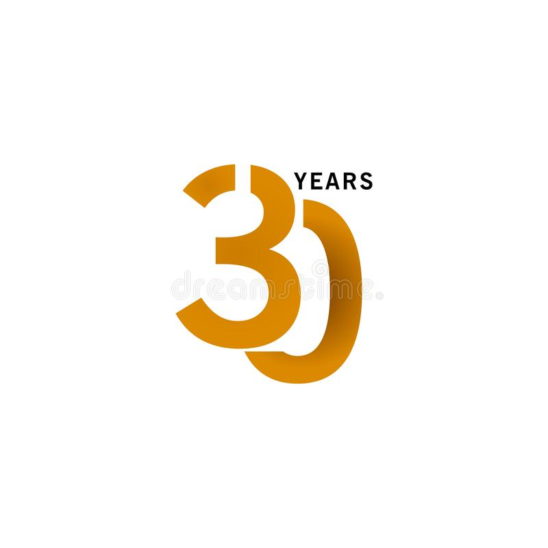 30 Years Anniversary Vector Template Design illustration. Advertisement, corporate, greeting, ten, isolated, jubilee, text, marriage, ceremony, gold, luxury vector illustration