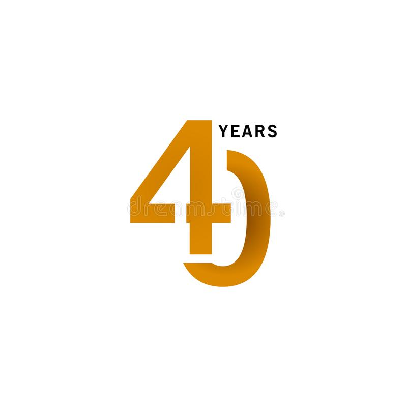 40 Years Anniversary Vector Template Design illustration. Advertisement, corporate, greeting, ten, isolated, jubilee, text, marriage, ceremony, gold, luxury vector illustration