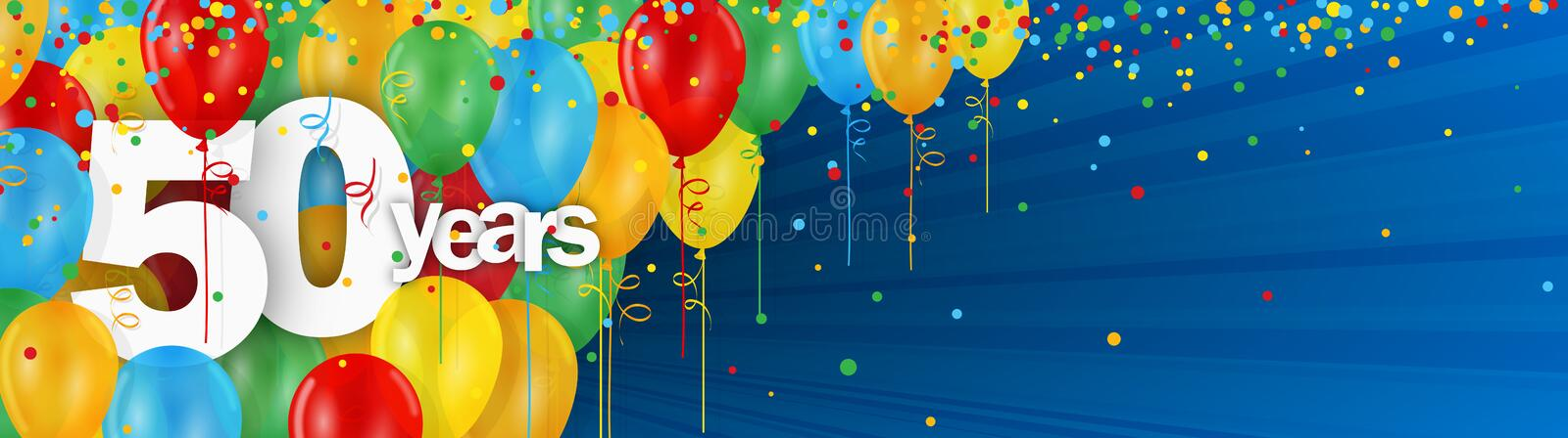 50 Years banner card with colorful balloons and confetti vector illustration