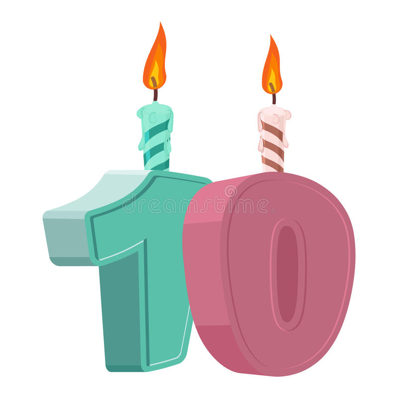 10 years birthday. Number with festive candle for holiday cake. royalty free illustration