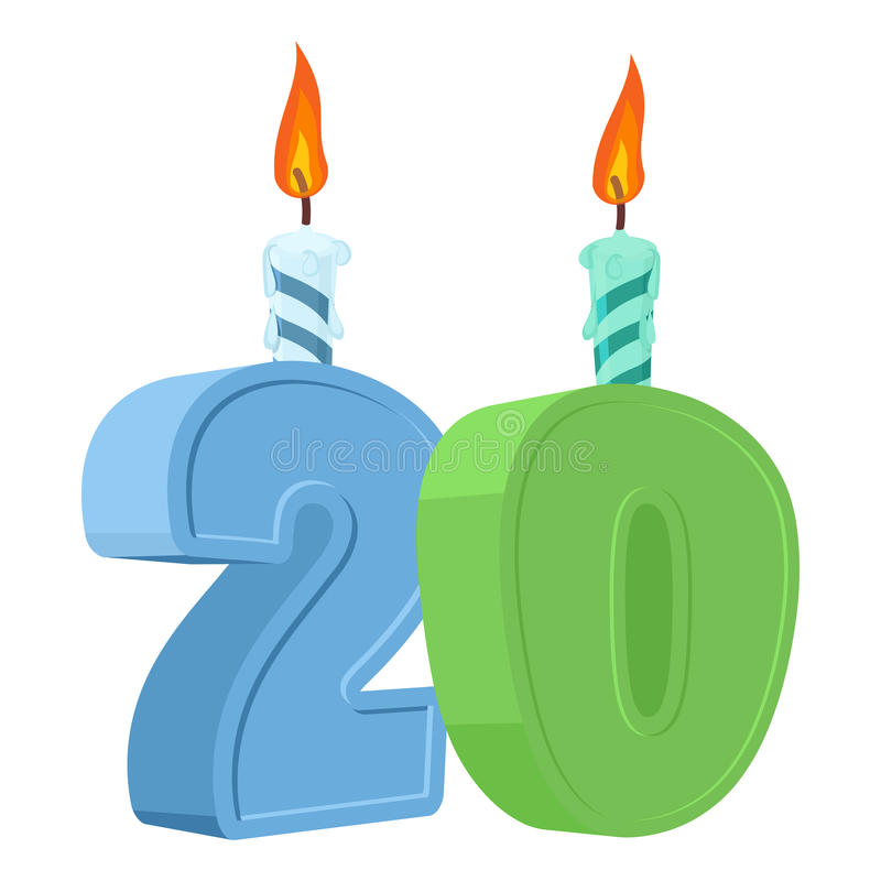 20 years birthday. Number with festive candle for holiday cake. stock illustration