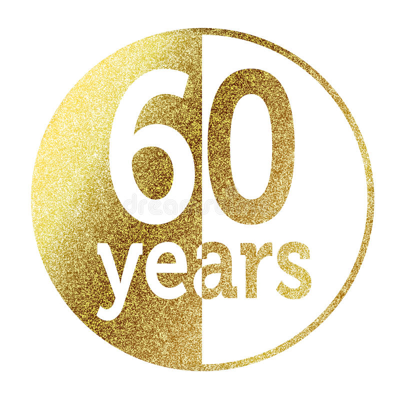 60 years. In bright gold vector illustration