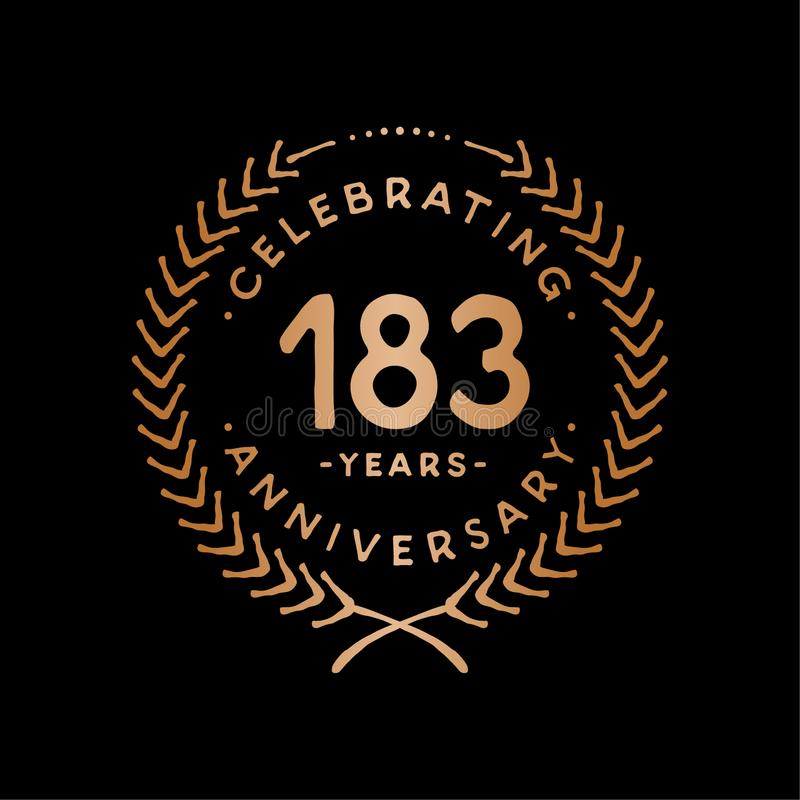 183 years design template. 183rd vector and illustration. 183 years anniversary celebration design template. 183 years celebrating vector and illustration. 183rd royalty free illustration