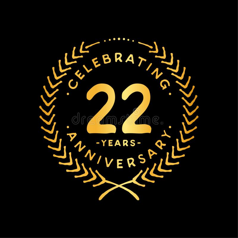 22 years design template. 22nd vector and illustration. 22 years anniversary celebration design template. Twenty-two years celebrating vector and illustration vector illustration