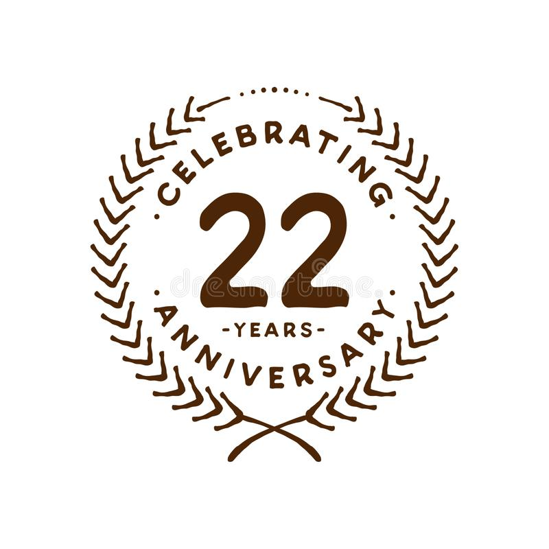 22 years design template. 22nd vector and illustration. 22 years anniversary celebration design template. Twenty-two years celebrating vector and illustration royalty free illustration