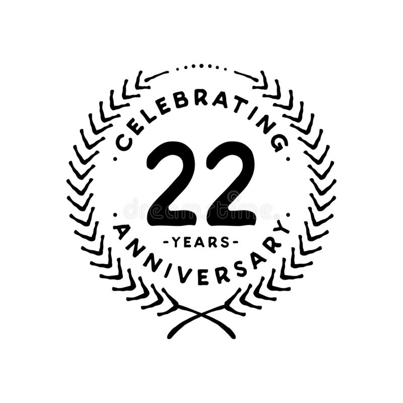 22 years design template. 22nd vector and illustration. 22 years anniversary celebration design template. Twenty-two years celebrating vector and illustration stock illustration