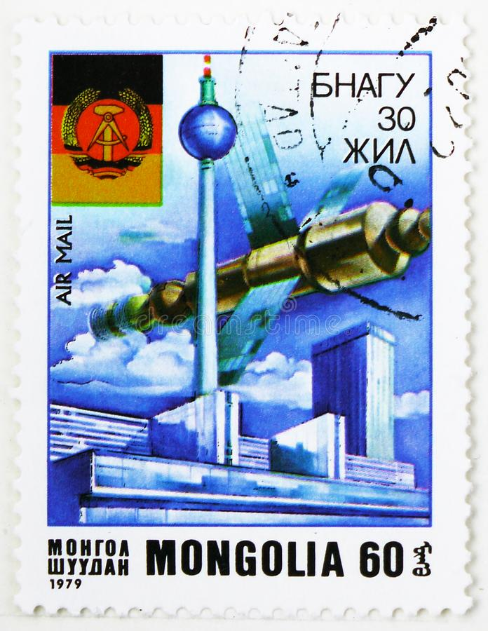 30 Years of the German Democratic Republic, serie, circa 1979. MOSCOW, RUSSIA - AUGUST 4, 2019: Postage stamp printed in Mongolia devoted to 30 Years of the royalty free stock photos