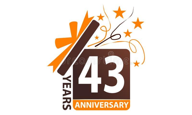 43 Years Gift Box Ribbon Anniversary royalty free illustration