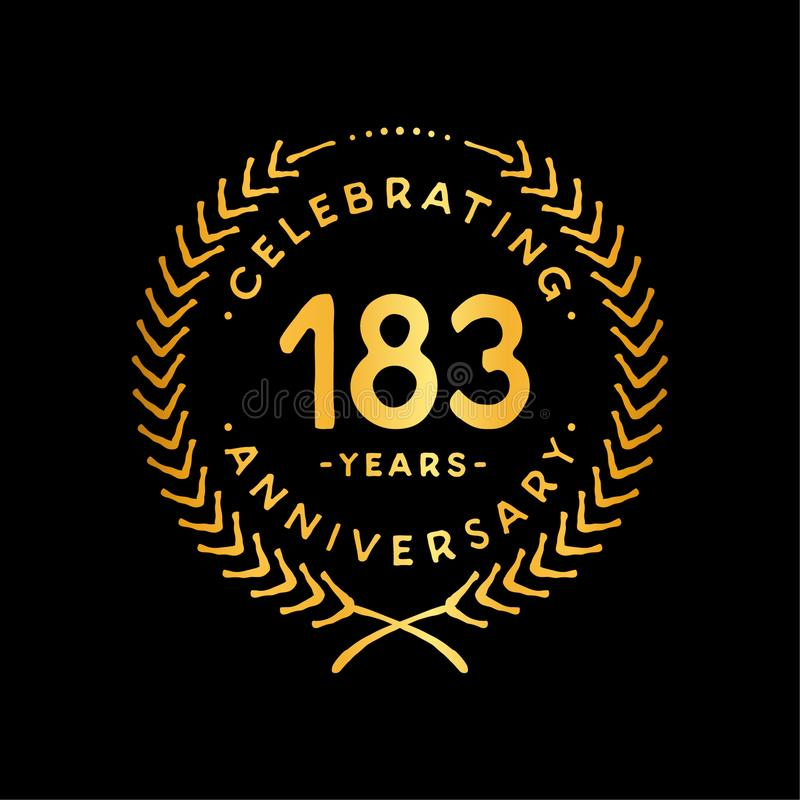 183 years design template. 183rd vector and illustration. 183 years anniversary celebration design template. 183 years celebrating vector and illustration. 183rd stock illustration