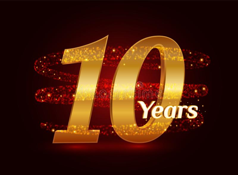 10 years golden anniversary 3d logo celebration with glittering spiral star dust trail sparkling particles. Ten years anniversary vector illustration
