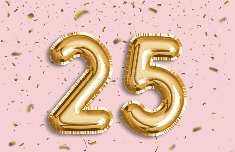 25 Years golden Foil Balloon anniversary logotype. vector illustration