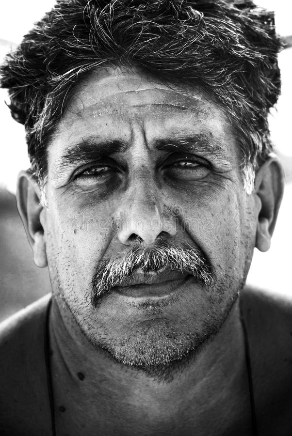 Years gone by. A middle age man posing for a portrait stock photography