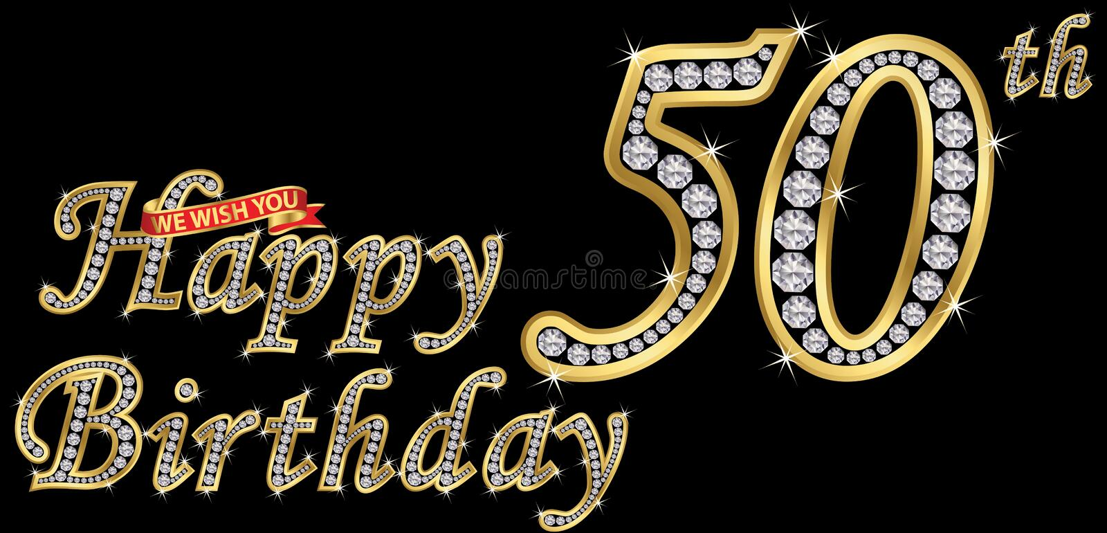 50 years happy birthday golden sign with diamonds, vector illustration stock illustration
