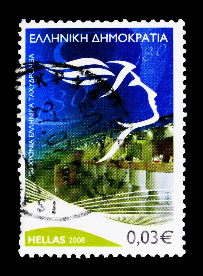 180 Years Hellenic Post - New Emblem, Anniversaries and Events s. MOSCOW, RUSSIA - MARCH 18, 2018: A stamp printed in Greece shows 180 Years Hellenic Post - New royalty free stock photos