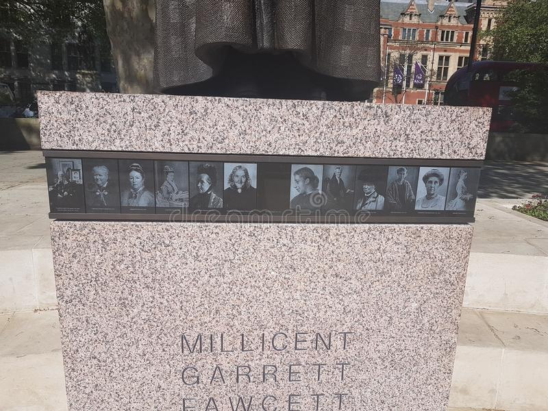 Suffragist sculpture in London. 90 years after her death, Millicent Fawcett becomes the first woman to be commemorated with a statue in Parliament Square with royalty free stock photo