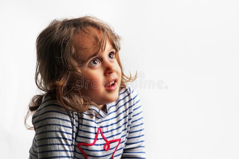 3-4 years little girl looking up royalty free stock image