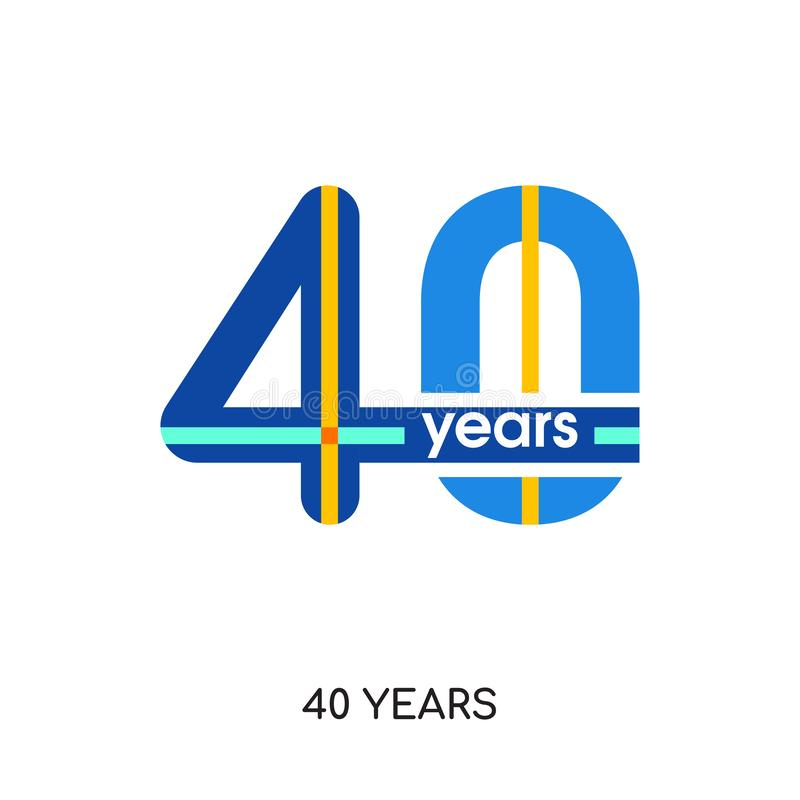 40 years logo isolated on white background for your web, mobile vector illustration