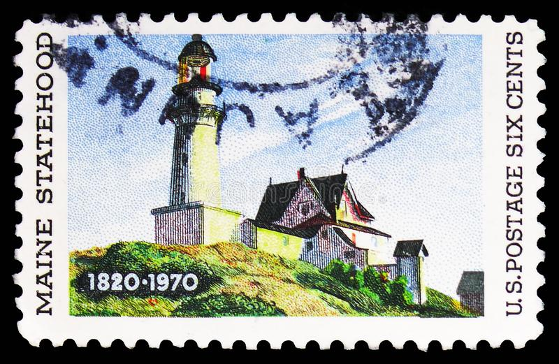 150 Years Maine Statehood, shows 'Lighthouse at Two Lights ' by Edward Hopper, serie, circa 1970. MOSCOW, RUSSIA - FEBRUARY 10, 2019: A stamp printed in United stock photos