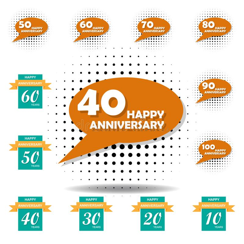 40 years multicolored icon . Set of anniversary illustration icons. Signs, symbols can be used for web, logo, mobile app, UI, UX vector illustration