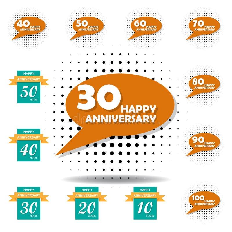 30 Year Anniversary Symbol: 30 Years Anniversary Vector Icon, Logo Set Stock Vector