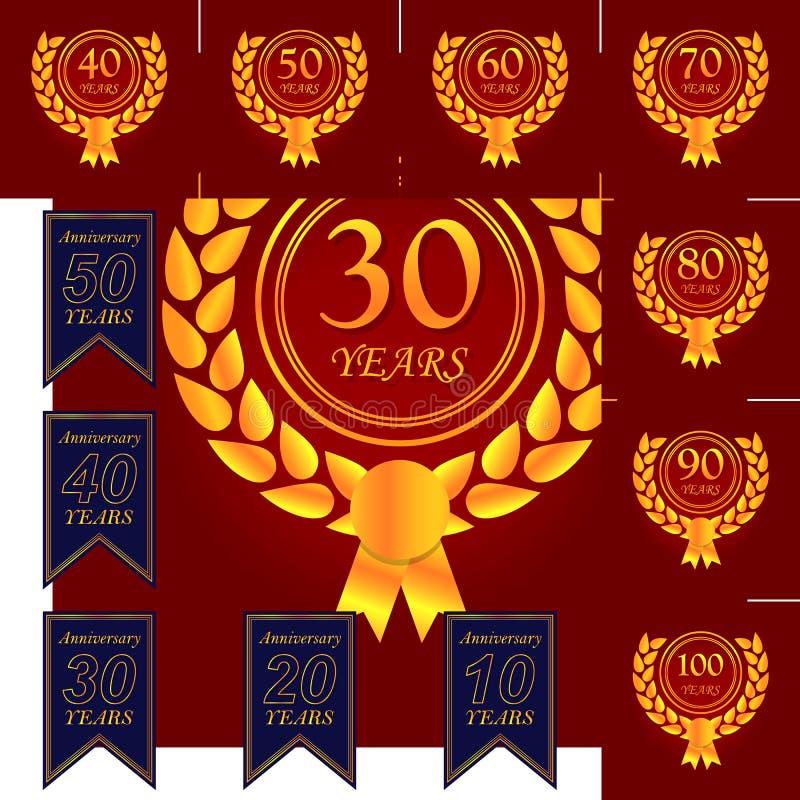 30 Year Anniversary Symbol: 30 Years Multicolored Icon . Set Of Anniversary