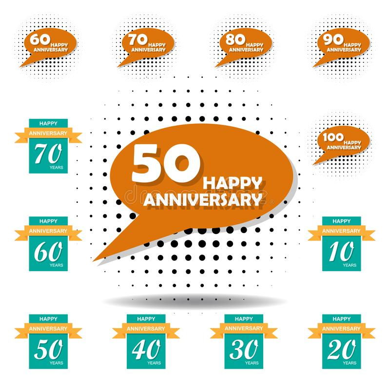 50 years multicolored icon . Set of anniversary illustration icons. Signs, symbols can be used for web, logo, mobile app, UI, UX stock illustration