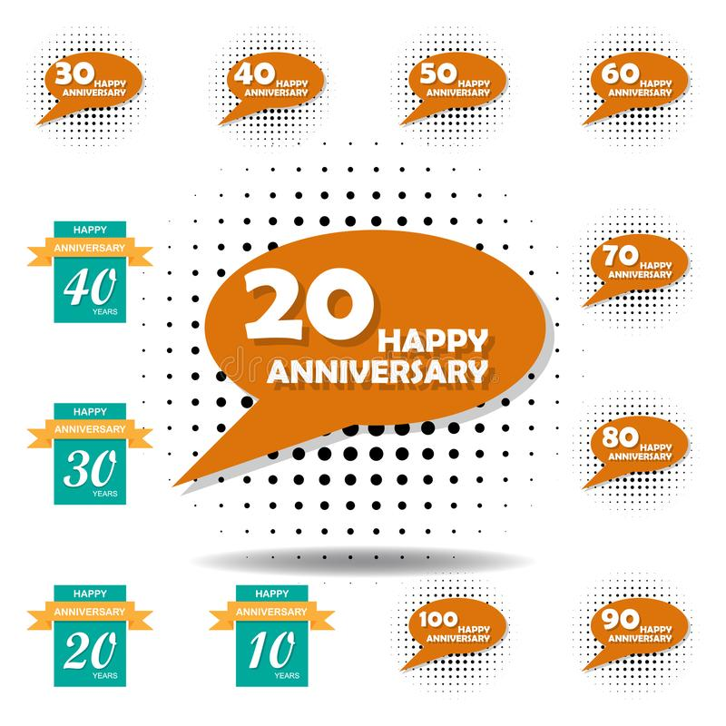 20 years multicolored icon . Set of anniversary illustration icons. Signs, symbols can be used for web, logo, mobile app, UI, UX stock illustration