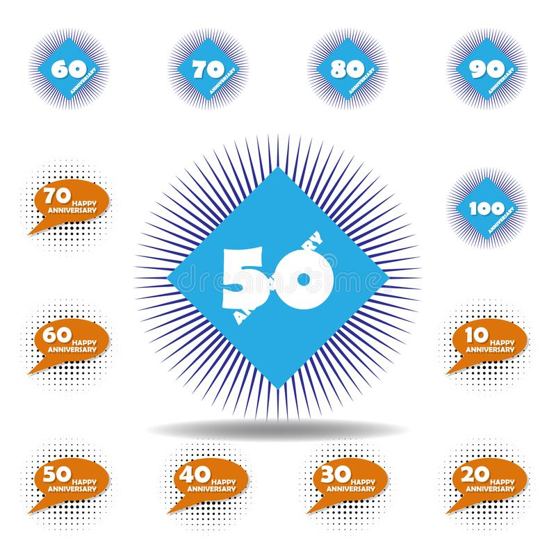 50 years multicolored icon . Set of anniversary illustration icons. Signs, symbols can be used for web, logo, mobile app, UI, UX. On white background vector illustration