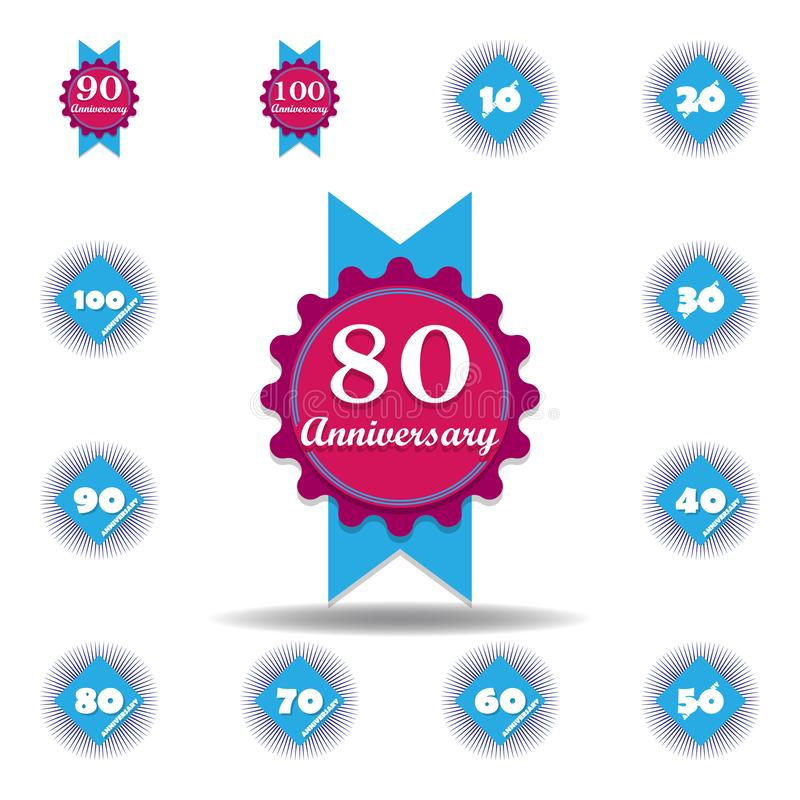 80 years multicolored icon . Set of anniversary illustration icons. Signs, symbols can be used for web, logo, mobile app, UI, UX vector illustration
