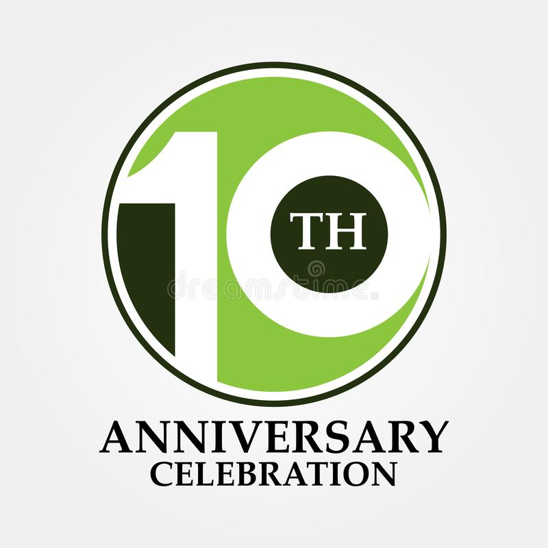 10 years old anniversary and celebrating classic circle logo and sign vector illustration