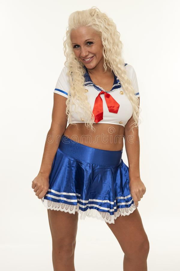 30-40 years old beautiful woman wearing sailor costume royalty free stock photography