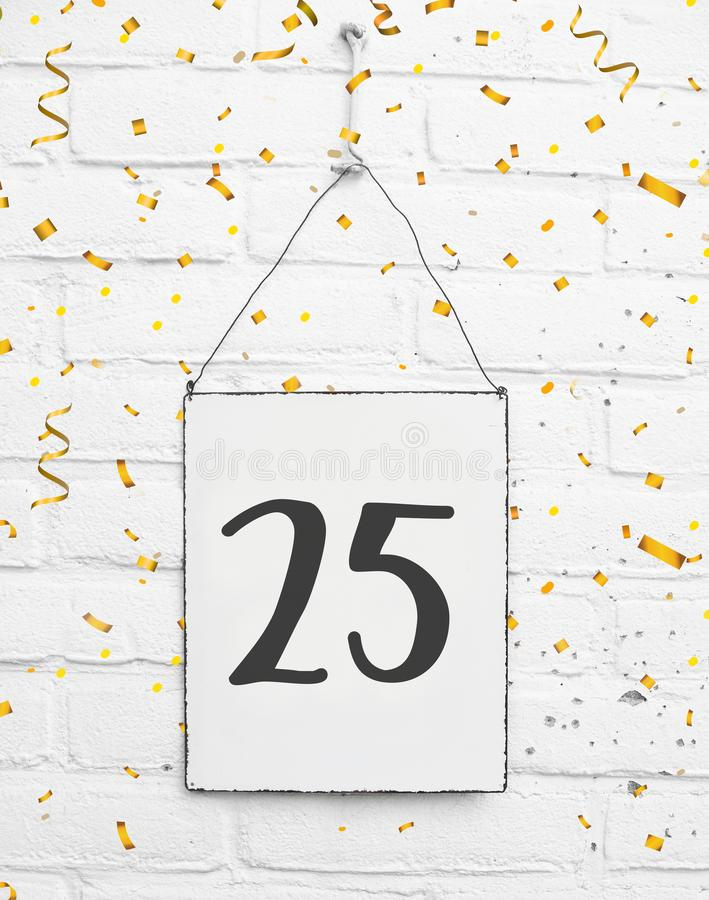 25 years old birthday party card with number twenty five with go royalty free stock image