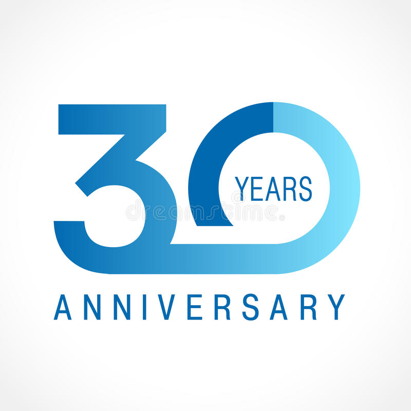 30 years old celebrating classic logo. stock illustration