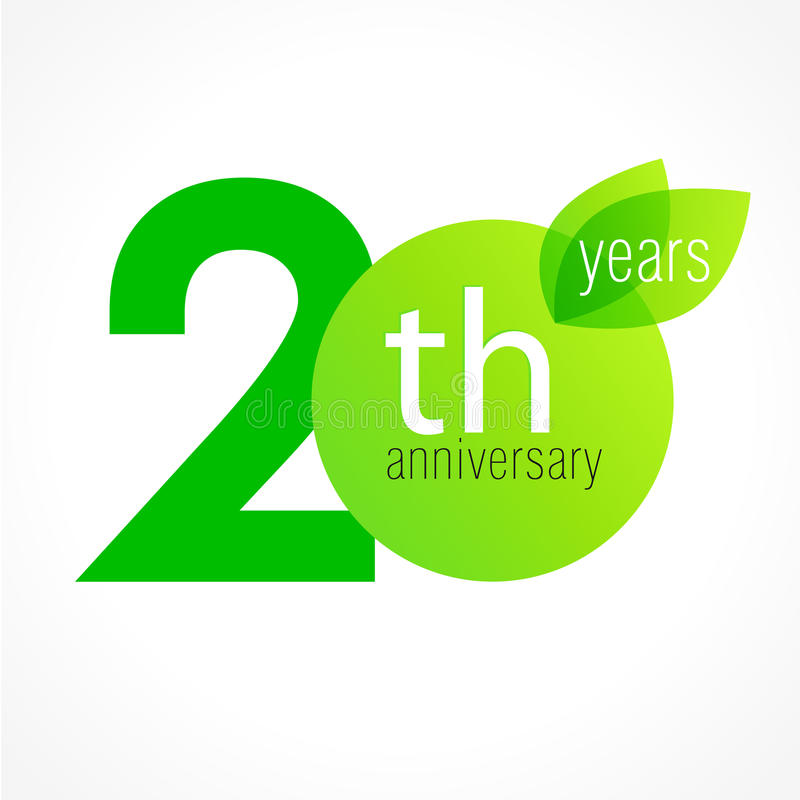 20 years old celebrating green leaves logo. stock illustration