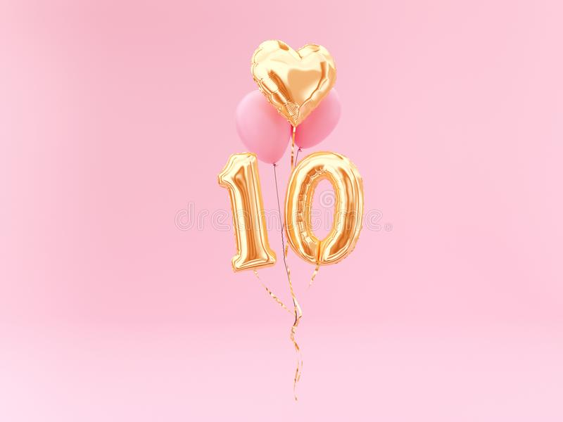 10 years old. Gold balloons number 10th anniversary royalty free illustration