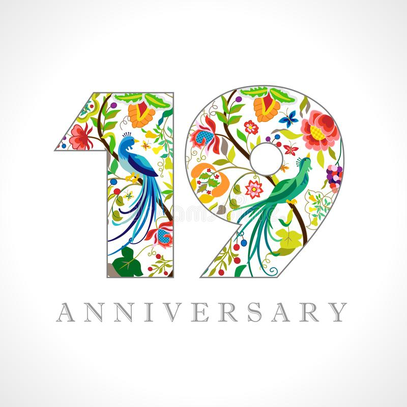 19 years anniversary logo royalty free illustration