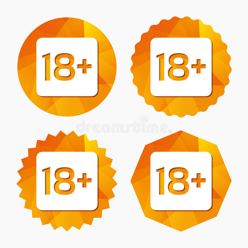 18 years old sign. Adults content only. 18 years old sign. Adults content only icon. Triangular low poly buttons with flat icon. Vector stock illustration
