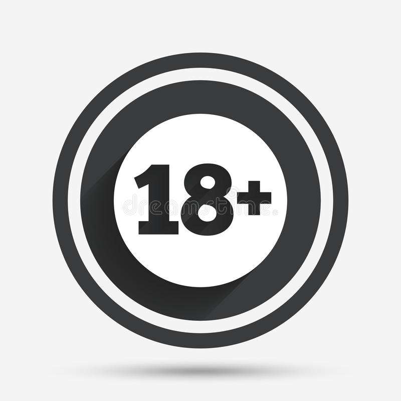 18 years old sign. Adults content. 18 plus years old sign. Adults content icon. Circle flat button with shadow and border. Vector vector illustration