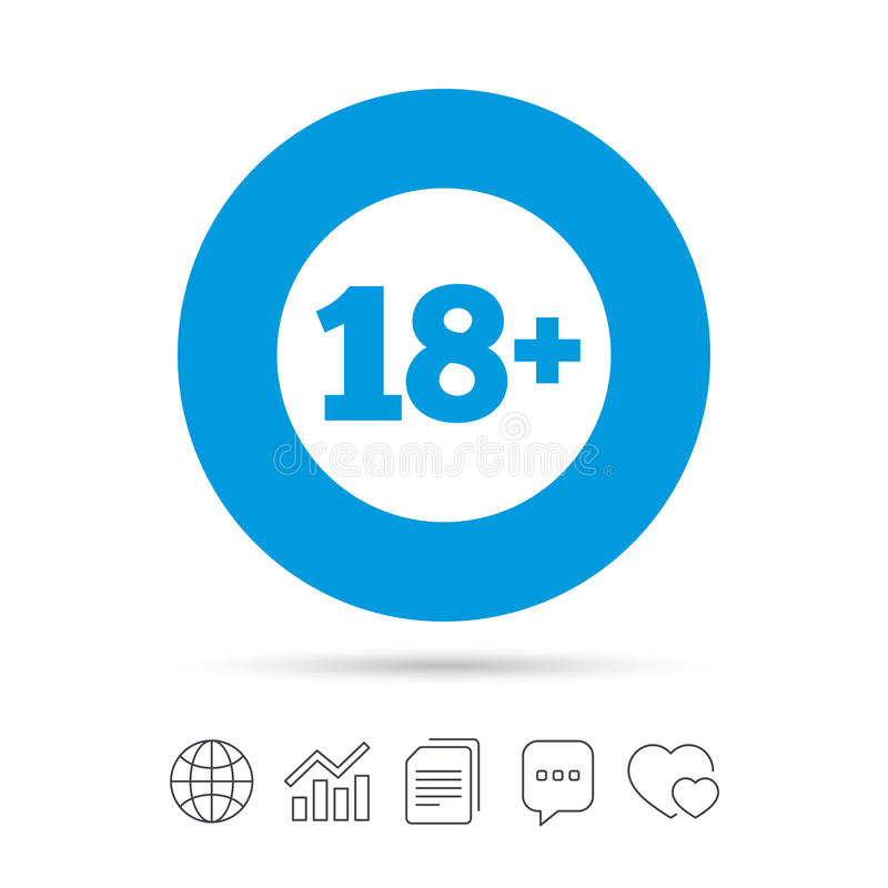 18 years old sign. Adults content. 18 plus years old sign. Adults content icon. Copy files, chat speech bubble and chart web icons. Vector stock illustration
