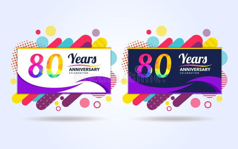 80 years pop anniversary modern design elements, colorful edition, celebration template design, pop celebration template design, stock illustration