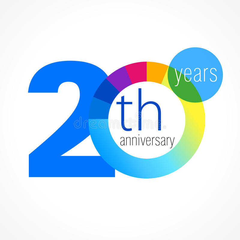 20 years round logo. stock illustration