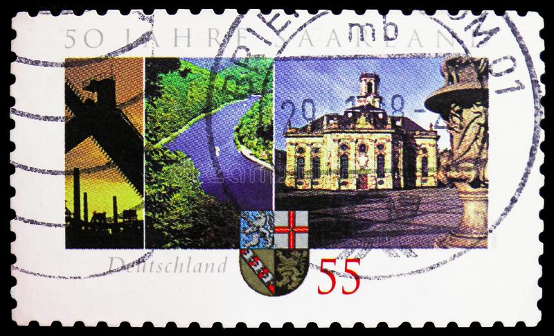 50 Years Saarland federation, 50th Anniv of Federal Republic of Saarland serie, circa 2007. MOSCOW, RUSSIA - FEBRUARY 21, 2019: A stamp printed in Germany shows stock photography