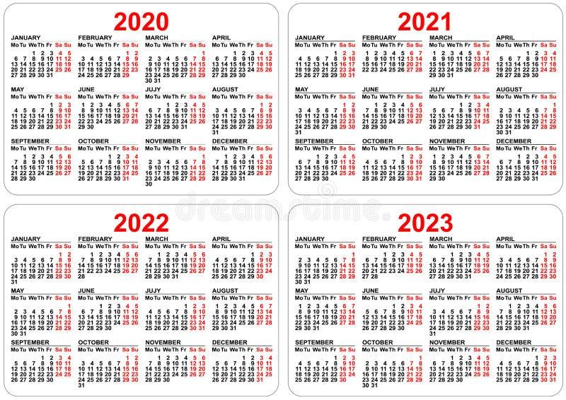2022 2023 Pocket Calendar.2020 2021 2022 2023 Years Set Pocket Calendar Grid Template Organizer Planner Stock Vector Illustration Of January Calendar 144460574