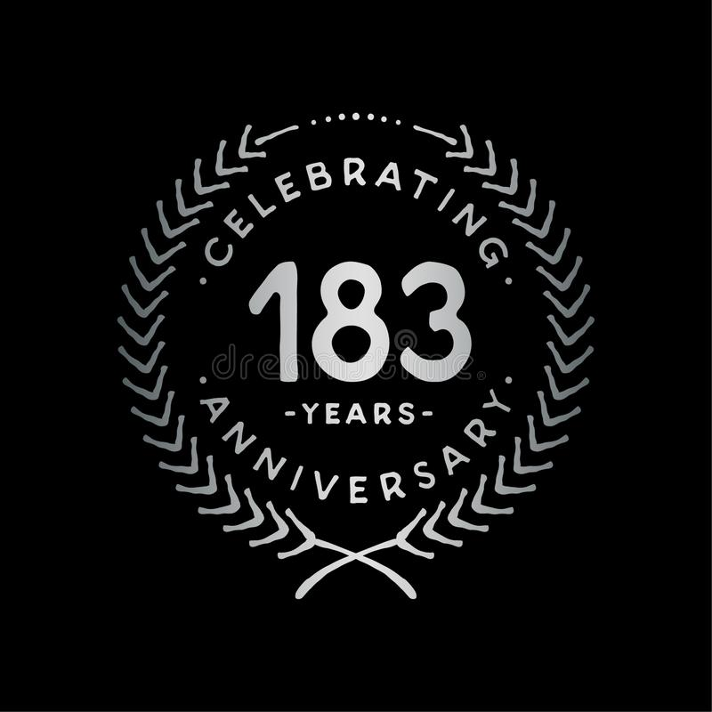 183 years design template. 183rd vector and illustration. 183 years anniversary celebration design template. 183 years celebrating vector and illustration. 183rd vector illustration