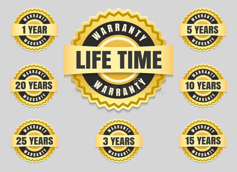 Years warranty labels and guarantee seals royalty free illustration
