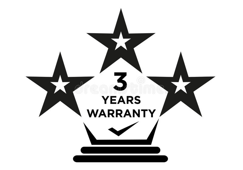 3 Years Warranty Stars Label for Manufacturing Package. 3 Years Warranty Stars Logo for Product Package Labels such as electronics and home appliance or devices vector illustration