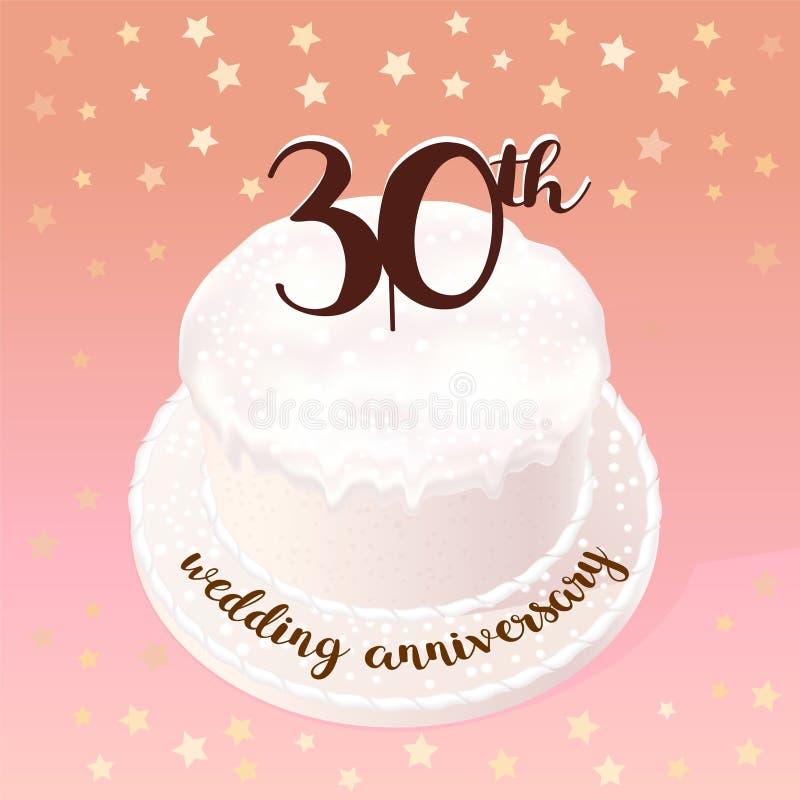 Anniversario Matrimonio Trentanni.30 Years Of Wedding Or Marriage Vector Icon Illustration Stock